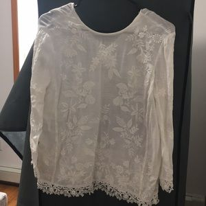 New Zara embroidered top - cream - size XS